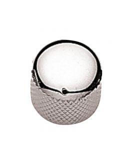 Botón potenciómetro metal curvado cromado pequeño con marca