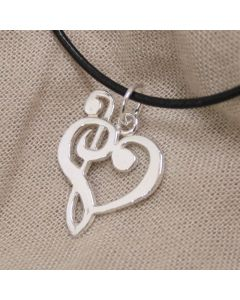 Treble and Bass Clef Pendant Sterling Silver