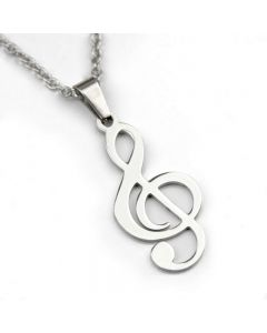 Treble Clef Stainless Steel pendant, medium size