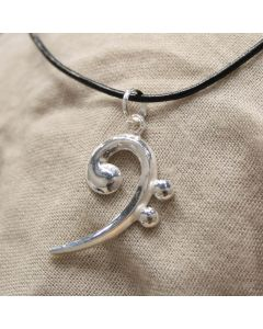 Bass Clef Pendant (Sterling Silver)