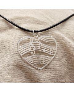 Music Heart Pendant Sterling Silver