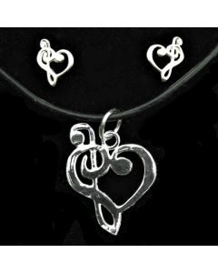 Sterling Silver Treble and Bass Clef Pendant and Mini Earrings Set