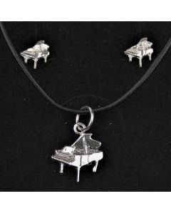 Sterling Silver Piano Pendant and Mini Earrings Set