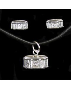 Sterling Silver Drums Pendant and Mini Earrings Set