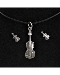 Sterling Silver Violin Pendant and Mini Earrings Set