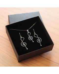 Treble clef earrings and pendant 3 (sterling silver)