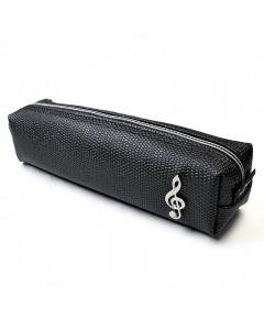 Treble Clef Pencil Case, black and square