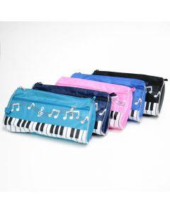 Serie de estuches para lápices con estampado de piano, 2 cremalleras y diferentes colores