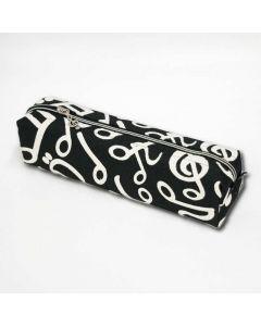 Music notes black pencil case