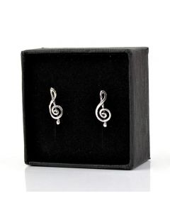 Treble Clef mini earrings 3 (sterling silver)