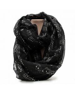 Black scarf,musical notes