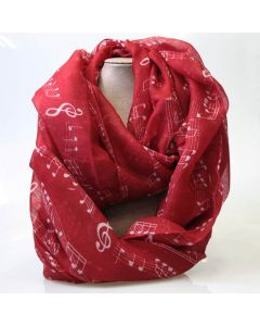 Red musical notes scarf