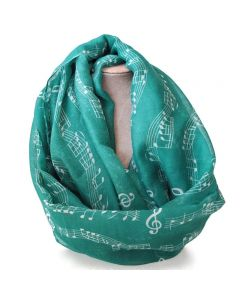 Green scarf,musical notes