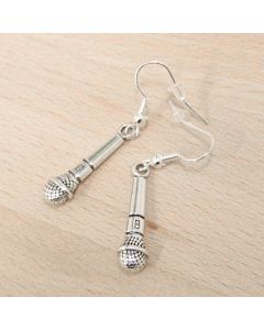 Microphone earrings, antique silver