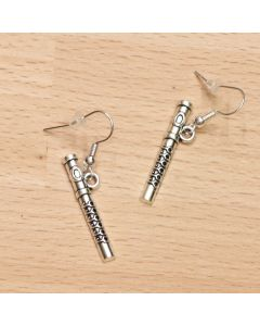 Flute earrings, antique silver