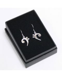 Bass clef earrings, sterling silver