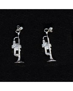 Trumpet shape silver earrings