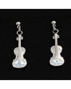 Violin shape silver earrings