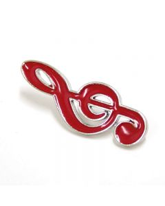 Treble Clef Lapel Pin red