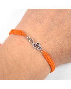Treble Clef bracelet sterling silver orange