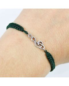 Treble Clef bracelet sterling silver Bottle Green