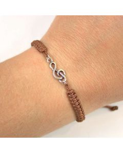 Treble Clef bracelet sterling silver Brown