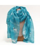 Turquoise scarf, cats and musical notes